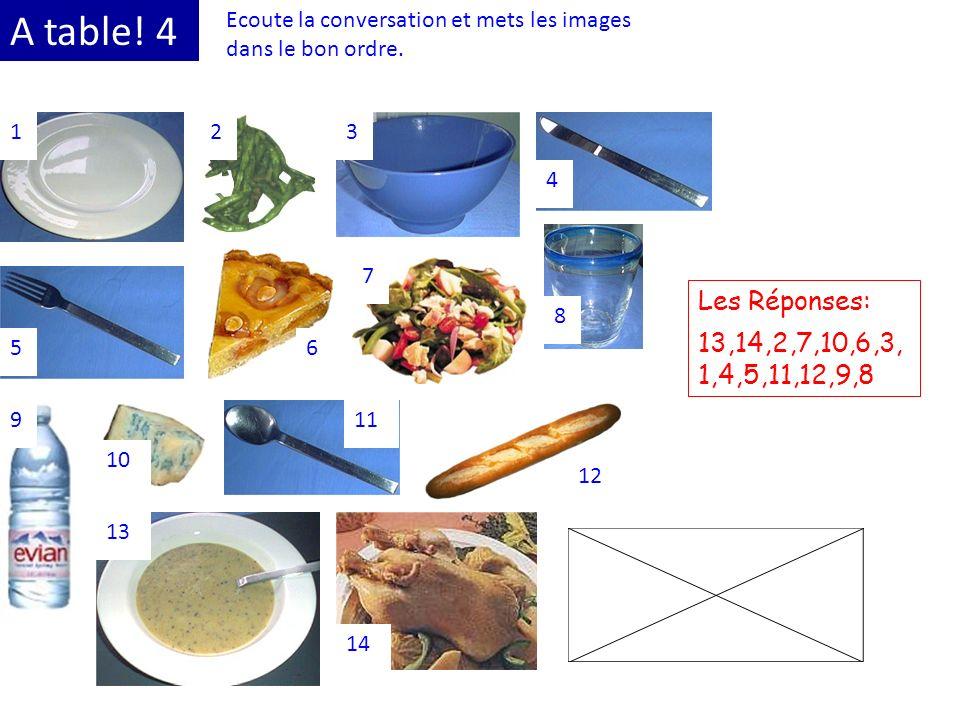 A table! 4 Ecoute la conversation et mets les images dans le bon ordre. 123 4 56 7 8 9 10 11 12 13 14 Les Réponses: 13,14,2,7,10,6,3, 1,4,5,11,12,9,8