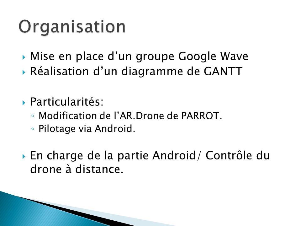 Mise en place dun groupe Google Wave Réalisation dun diagramme de GANTT Particularités: Modification de lAR.Drone de PARROT.