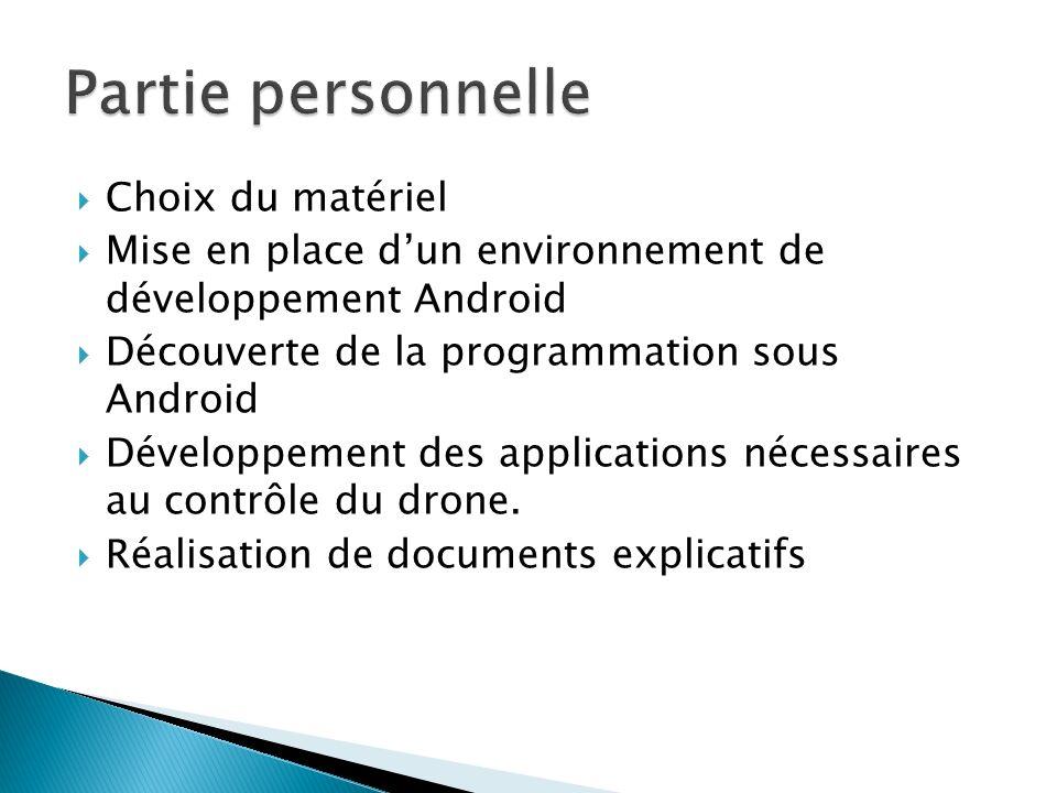 Choix du matériel Mise en place dun environnement de développement Android Découverte de la programmation sous Android Développement des applications nécessaires au contrôle du drone.