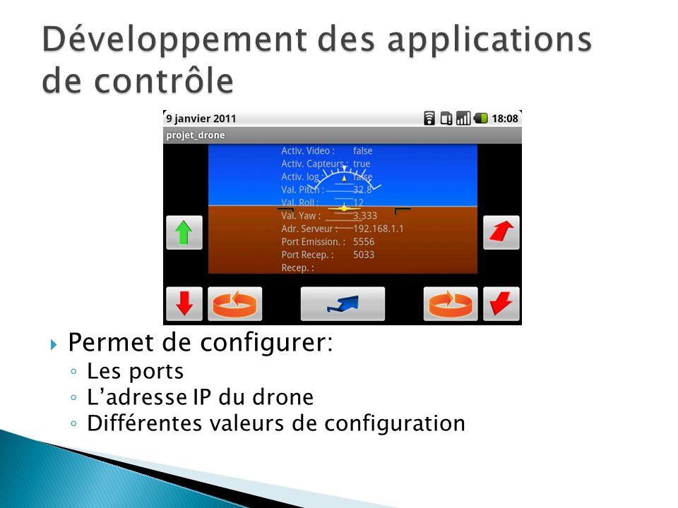 Permet de configurer: Les ports Ladresse IP du drone Différentes valeurs de configuration