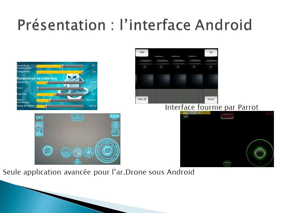 Seule application avancée pour lar.Drone sous Android Interface fournie par Parrot
