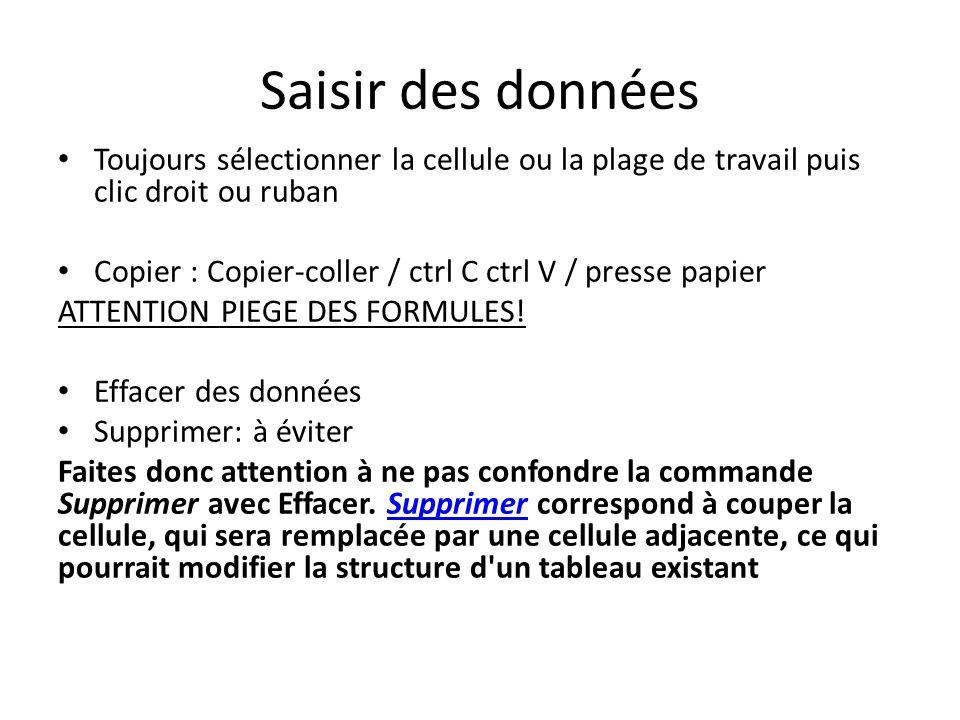 Saisir des données Toujours sélectionner la cellule ou la plage de travail puis clic droit ou ruban Copier : Copier-coller / ctrl C ctrl V / presse papier ATTENTION PIEGE DES FORMULES.