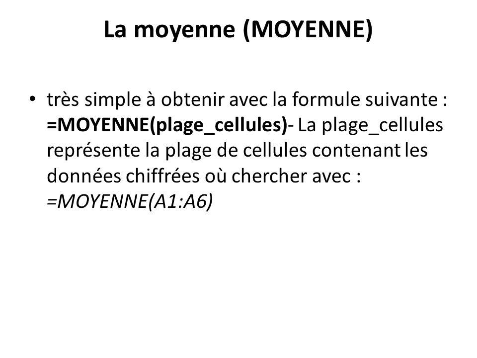La moyenne (MOYENNE) très simple à obtenir avec la formule suivante : =MOYENNE(plage_cellules)- La plage_cellules représente la plage de cellules contenant les données chiffrées où chercher avec : =MOYENNE(A1:A6)