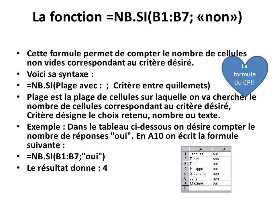 La fonction =NB.SI(B1:B7; «non») Cette formule permet de compter le nombre de cellules non vides correspondant au critère désiré.