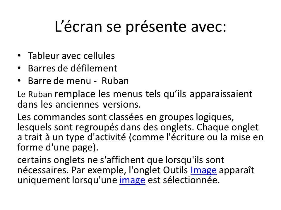 Lécran se présente avec: Tableur avec cellules Barres de défilement Barre de menu - Ruban Le Ruban remplace les menus tels quils apparaissaient dans les anciennes versions.