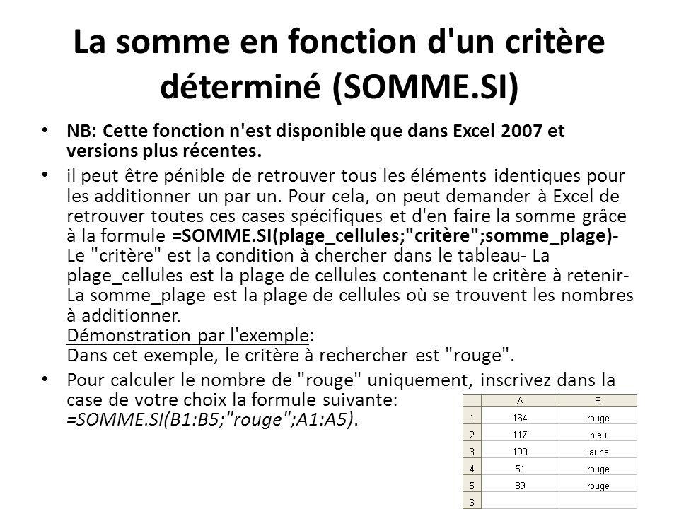 La somme en fonction d un critère déterminé (SOMME.SI) NB: Cette fonction n est disponible que dans Excel 2007 et versions plus récentes.