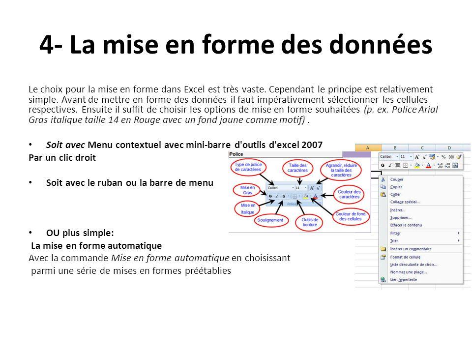 4- La mise en forme des données Le choix pour la mise en forme dans Excel est très vaste.