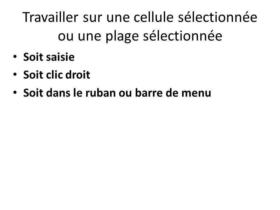 Travailler sur une cellule sélectionnée ou une plage sélectionnée Soit saisie Soit clic droit Soit dans le ruban ou barre de menu