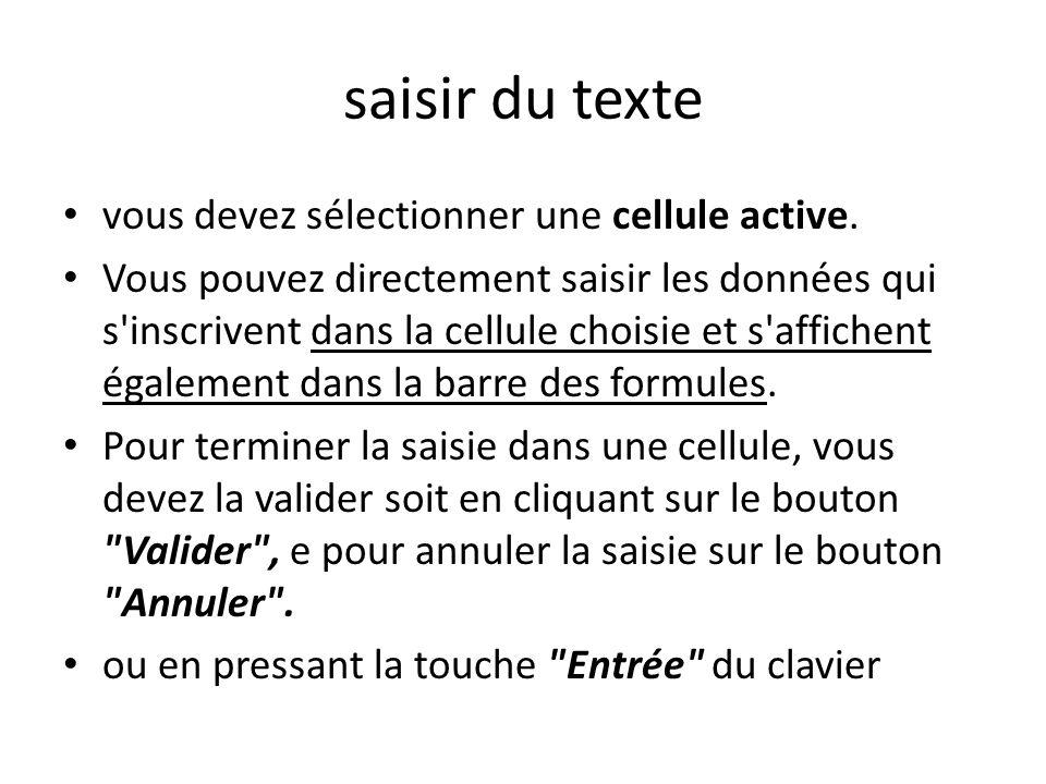 saisir du texte vous devez sélectionner une cellule active.