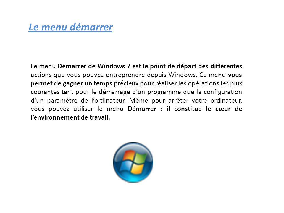 Le menu démarrer Le menu Démarrer de Windows 7 est le point de départ des différentes actions que vous pouvez entreprendre depuis Windows. Ce menu vou