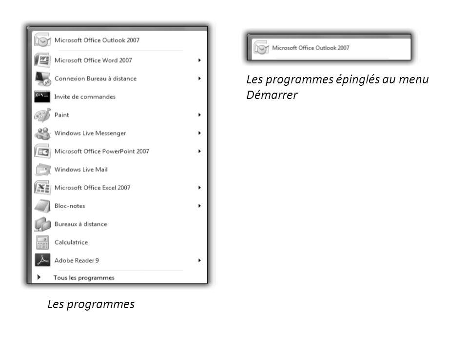 1.2 Dans la partie inférieure, le menu Tous les programmes permet de démarrer nimporte quel programme installé dans votre ordinateur.