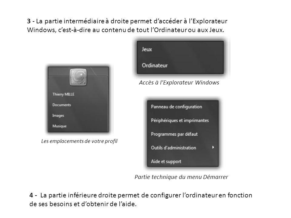 3 - La partie intermédiaire à droite permet daccéder à lExplorateur Windows, cest-à-dire au contenu de tout lOrdinateur ou aux Jeux. Accès à lExplorat