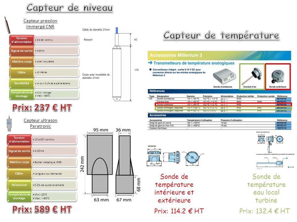 Capteur pression immergé CNR 6 à 38V continu Tension dalimentation 4-20mA Signal de sortie Acier inoxydable Matière corps 10 mètres Câble <+ ou – 0.1% de la pleine échelle Sensibilité Mini : hors gel Maxi : +80°C Température de stockage Capteur ultrason Paratronic 10 à 40V continu Tension dalimentation 4-20mA Signal de sortie Boitier métallique IP68 Matière corps Longueur sur demande Câble 0.2% de la pleine échelle Résolution Mini -20°C Maxi : +60°C Température de stockage Sonde de température eau local turbine Prix: 114.2 HTPrix: 132.4 HT Sonde de température intérieure et extérieure