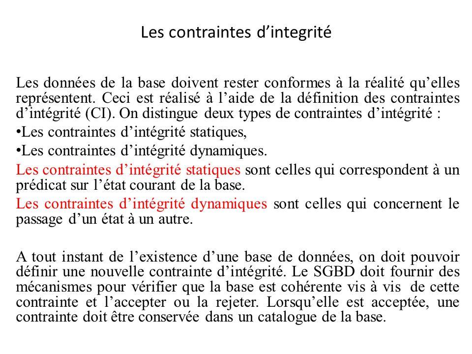 Différents types de contraintes statiques: Unicité de la clé dune relation.