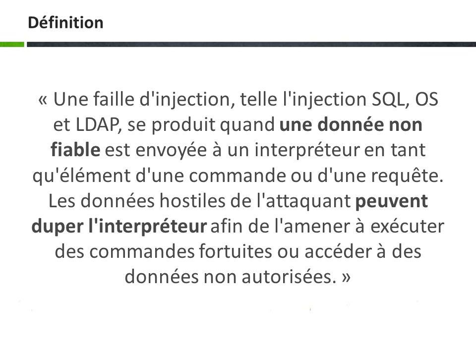 Types dInjection Injection SQL Une injection SQL est un type d exploitation d une faille de sécurité d une application interagissant avec une base de données, en injectant une requête SQL non prévue par le système et pouvant compromettre sa sécurité.
