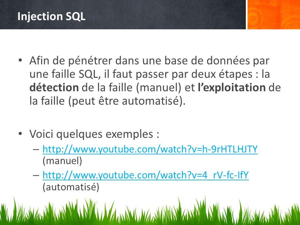 Injection SQL Afin de pénétrer dans une base de données par une faille SQL, il faut passer par deux étapes : la détection de la faille (manuel) et lexploitation de la faille (peut être automatisé).