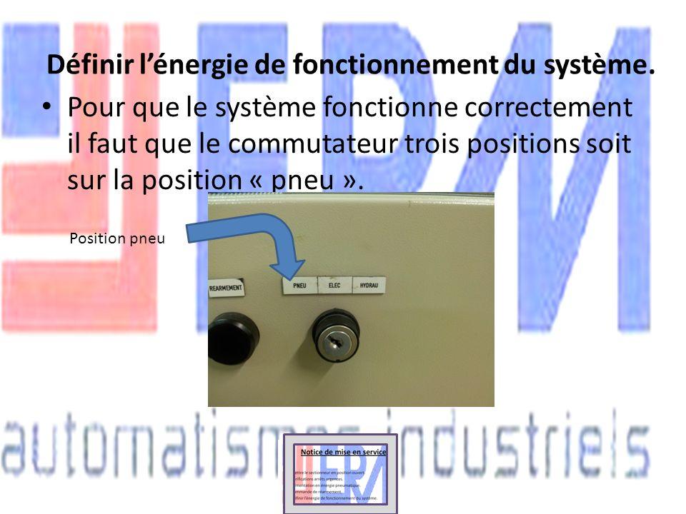 Définir lénergie de fonctionnement du système. Pour que le système fonctionne correctement il faut que le commutateur trois positions soit sur la posi