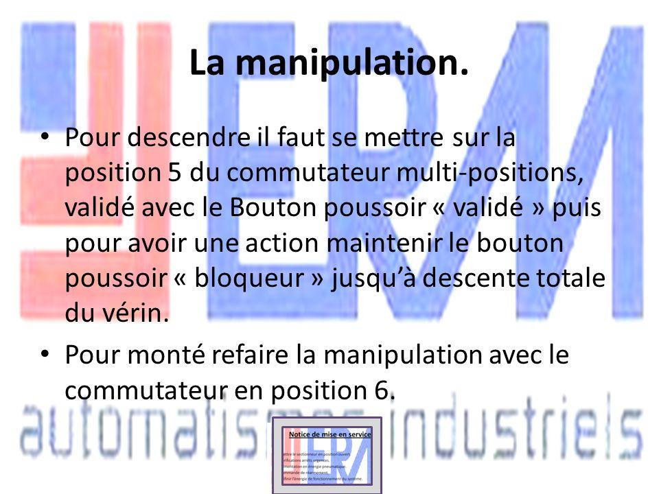 La manipulation. Pour descendre il faut se mettre sur la position 5 du commutateur multi-positions, validé avec le Bouton poussoir « validé » puis pou