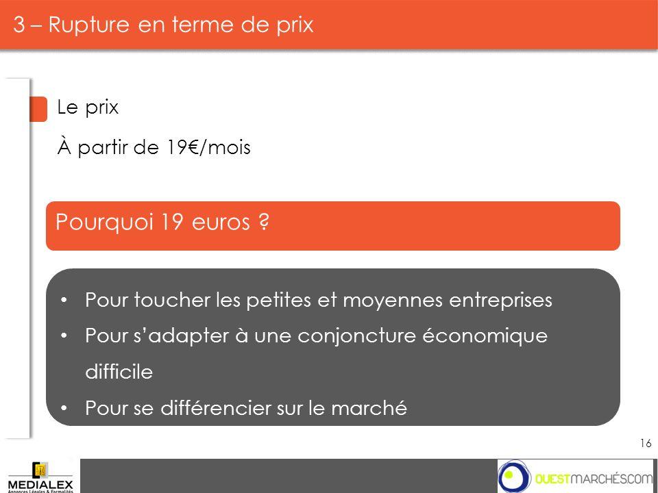 Pourquoi 19 euros ? Pour toucher les petites et moyennes entreprises Pour sadapter à une conjoncture économique difficile Pour se différencier sur le