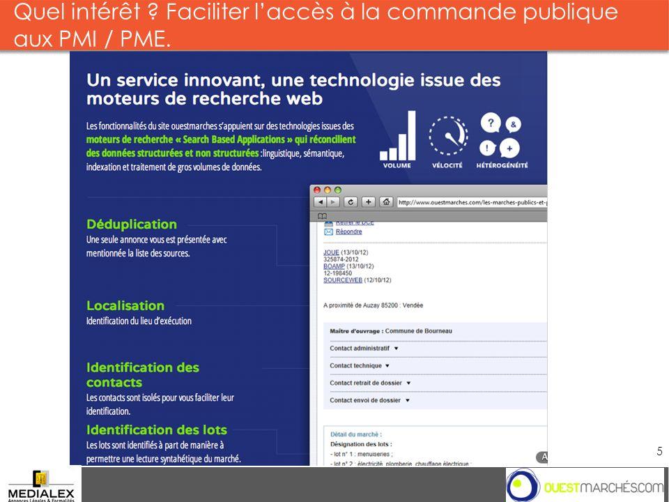Quel intérêt ? Faciliter laccès à la commande publique aux PMI / PME. Groupe 5 2013