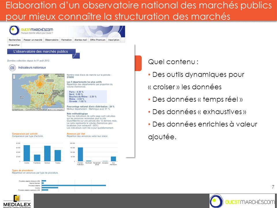 Elaboration dun observatoire national des marchés publics pour mieux connaître la structuration des marchés Groupe 7 2013 Quel contenu : Des outils dy