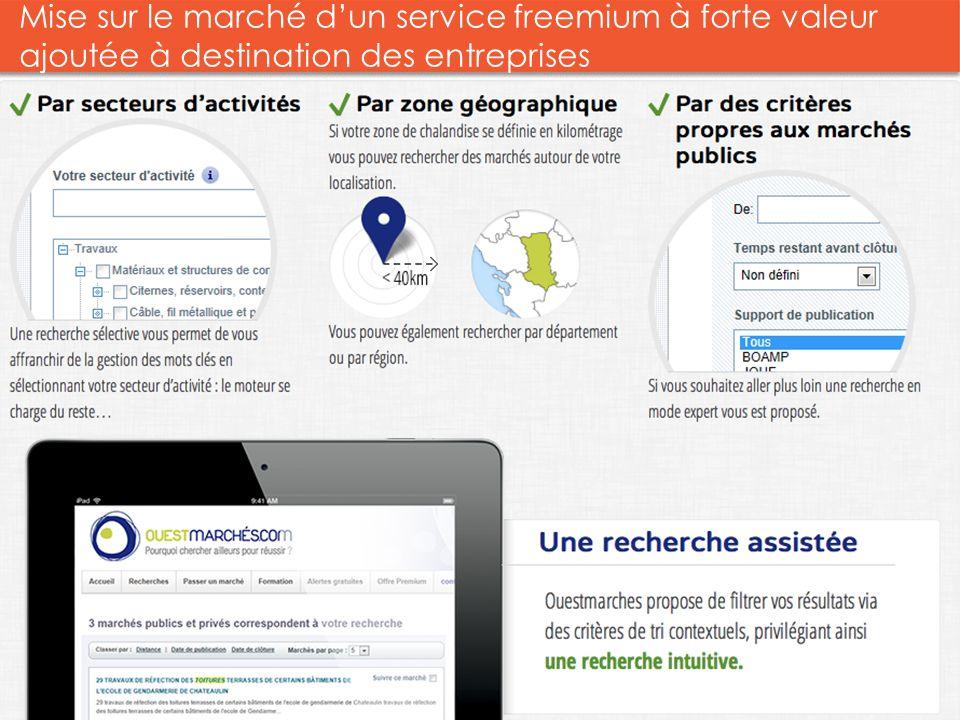 Mise sur le marché dun service freemium à forte valeur ajoutée à destination des entreprises Groupe 8 2013