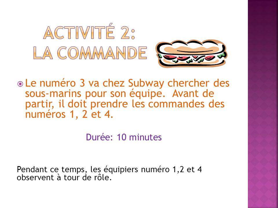 Le numéro 3 va chez Subway chercher des sous-marins pour son équipe. Avant de partir, il doit prendre les commandes des numéros 1, 2 et 4. Durée: 10 m