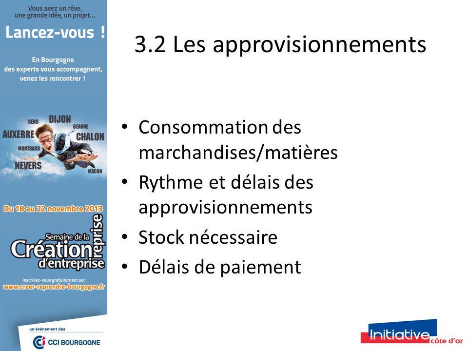 3.2 Les approvisionnements Consommation des marchandises/matières Rythme et délais des approvisionnements Stock nécessaire Délais de paiement