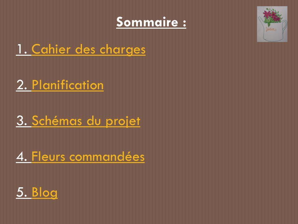 Sommaire : 1. Cahier des chargesCahier des charges 2. PlanificationPlanification 3. Schémas du projetSchémas du projet 4. Fleurs commandéesFleurs comm