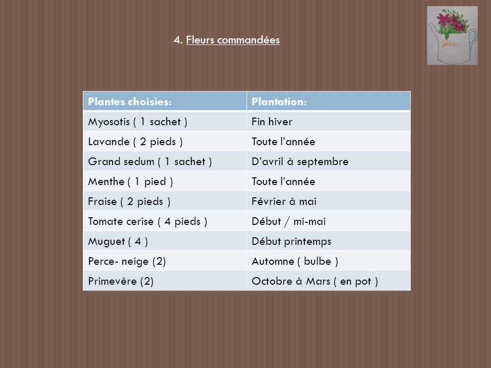 Plantes choisies:Plantation: Myosotis ( 1 sachet )Fin hiver Lavande ( 2 pieds )Toute lannée Grand sedum ( 1 sachet )Davril à septembre Menthe ( 1 pied