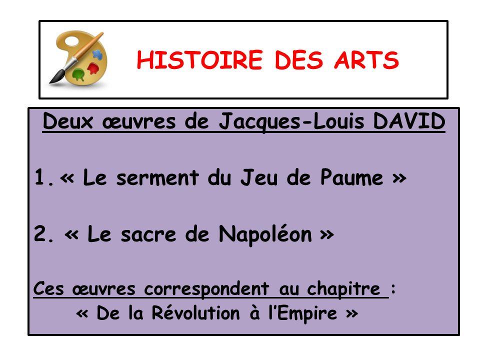 HISTOIRE DES ARTS Deux œuvres de Jacques-Louis DAVID 1.« Le serment du Jeu de Paume » 2. « Le sacre de Napoléon » Ces œuvres correspondent au chapitre
