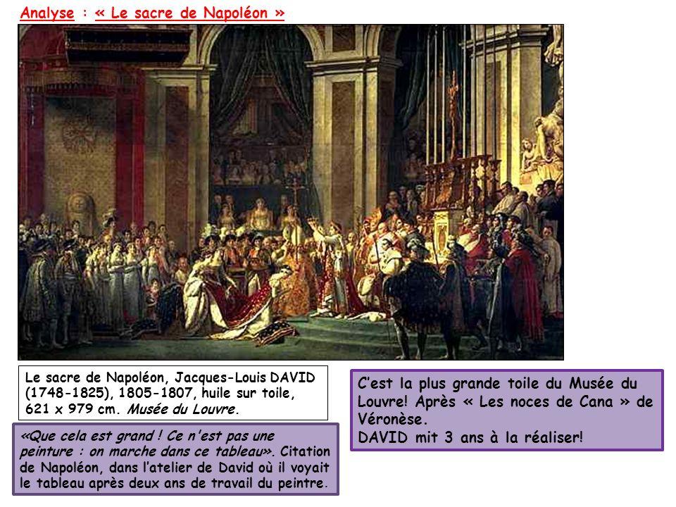 Analyse : « Le sacre de Napoléon » Le sacre de Napoléon, Jacques-Louis DAVID (1748-1825), 1805-1807, huile sur toile, 621 x 979 cm. Musée du Louvre. C