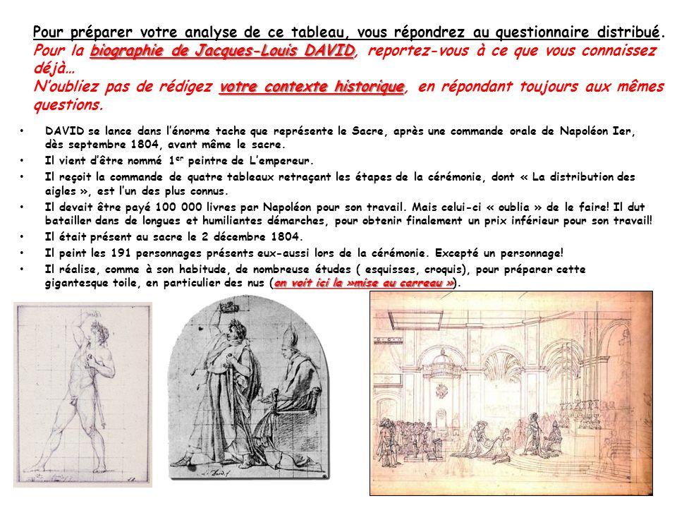DAVID se lance dans lénorme tache que représente le Sacre, après une commande orale de Napoléon Ier, dès septembre 1804, avant même le sacre. Il vient