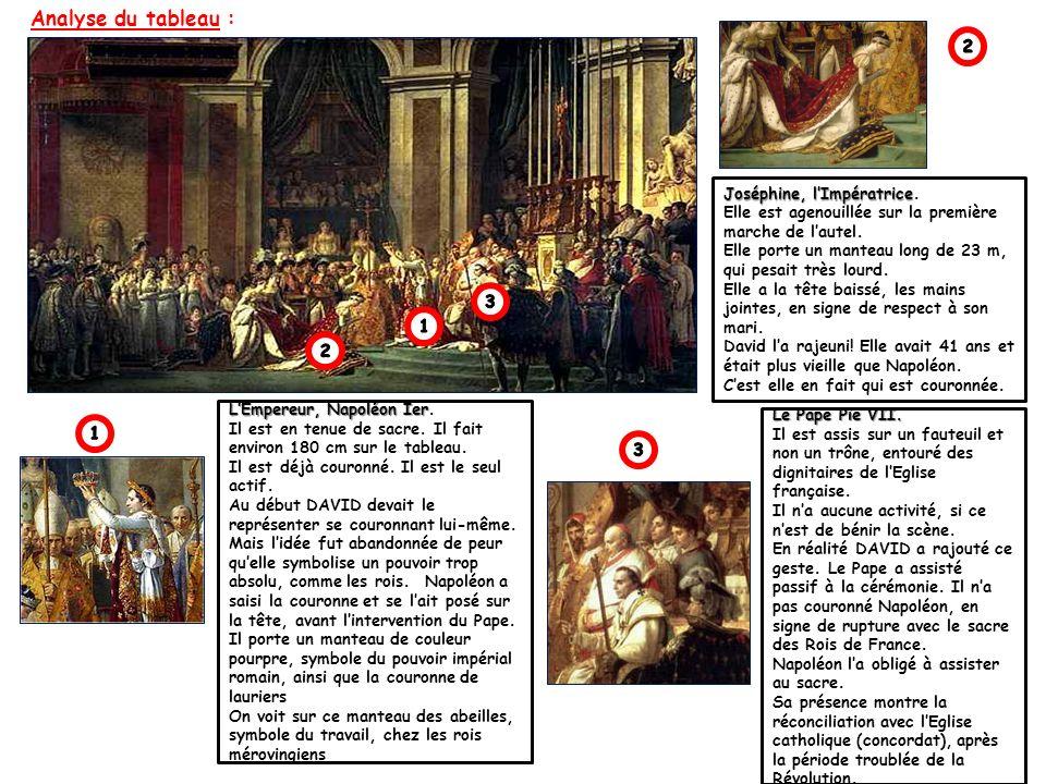 Analyse du tableau : LEmpereur, Napoléon Ier LEmpereur, Napoléon Ier. Il est en tenue de sacre. Il fait environ 180 cm sur le tableau. Il est déjà cou