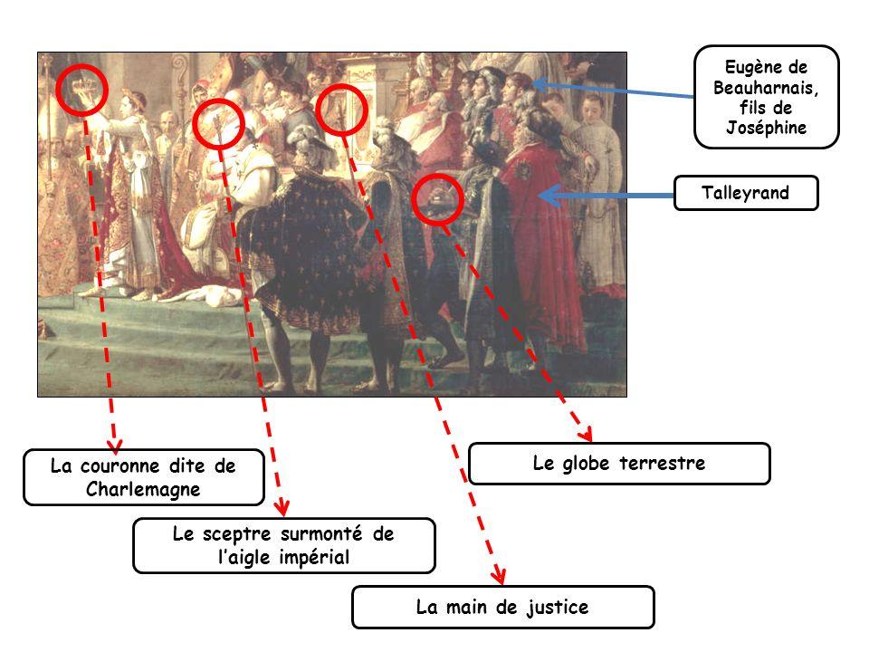 Talleyrand Eugène de Beauharnais, fils de Joséphine La main de justice Le sceptre surmonté de laigle impérial La couronne dite de Charlemagne Le globe