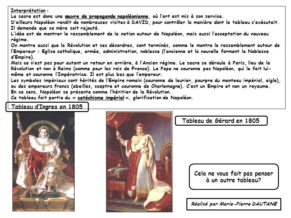 Interprétation : œuvre de propagande napoléonienne Le sacre est donc une œuvre de propagande napoléonienne, où lart est mis à son service. Dailleurs N