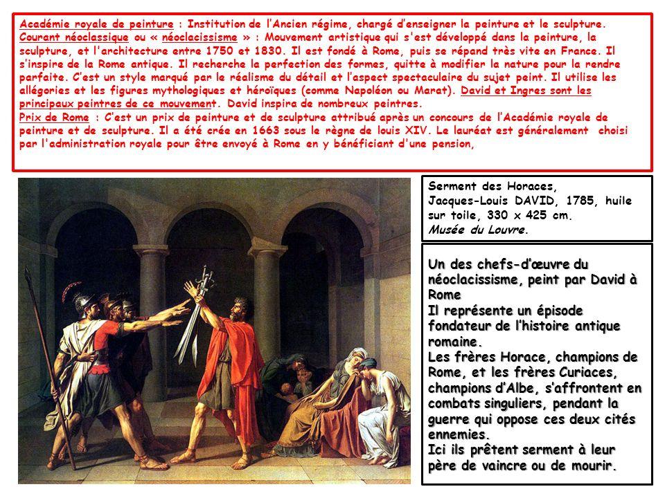 On y voit Jean-Paul Marat, assassiné, chez lui, par Charlotte Corday.