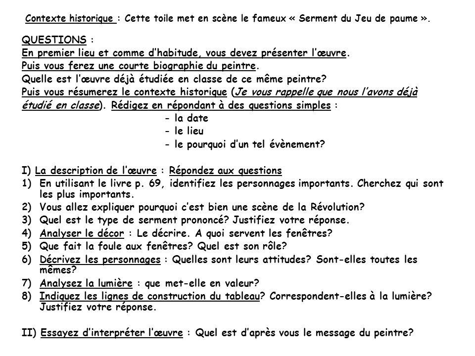 Contexte historique : A louverture des Etats Généraux, le 5 mai 1789, à Versailles, les députés du Tiers état réclament la réunion des trois ordres et le vote par tête, plutôt que le vote par ordre, qui donnait obligatoirement la majorité au Clergé et à la Noblesse.