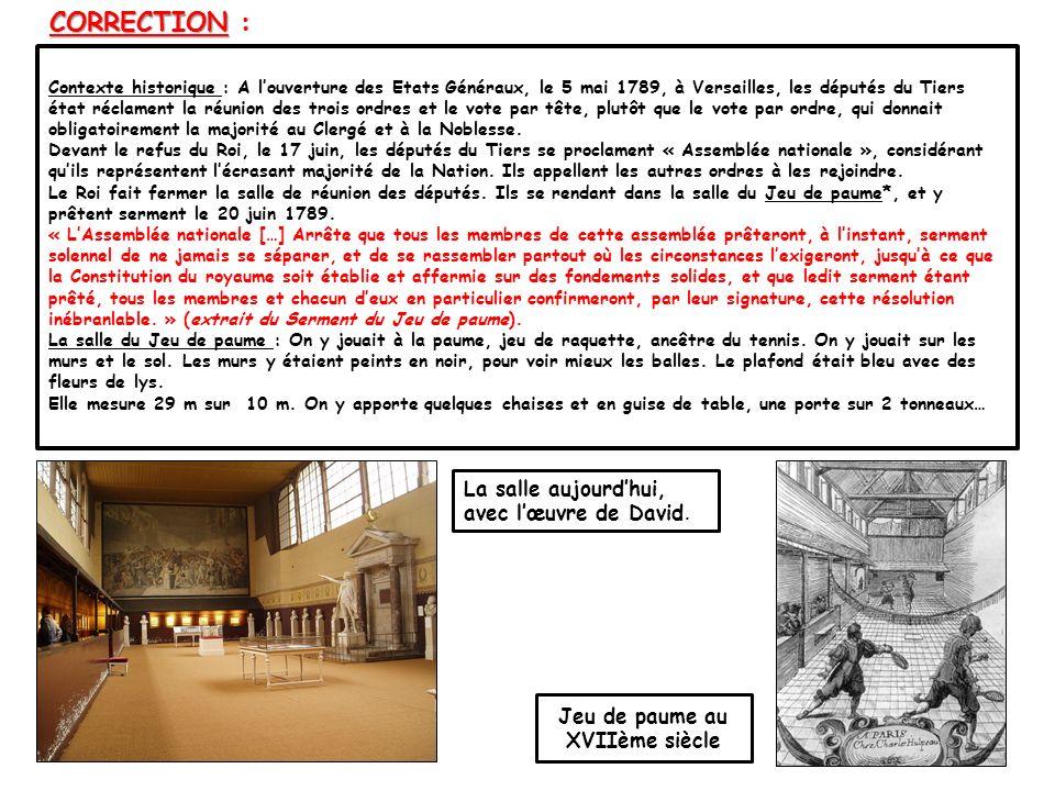Contexte historique : A louverture des Etats Généraux, le 5 mai 1789, à Versailles, les députés du Tiers état réclament la réunion des trois ordres et