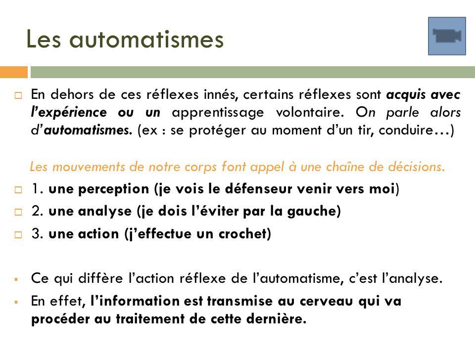 Les automatismes En dehors de ces réflexes innés, certains réflexes sont acquis avec lexpérience ou un apprentissage volontaire. On parle alors dautom