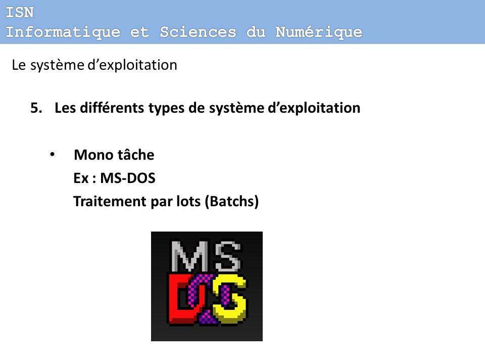Le système dexploitation 5.Les différents types de système dexploitation Mono tâche Ex : MS-DOS Traitement par lots (Batchs)