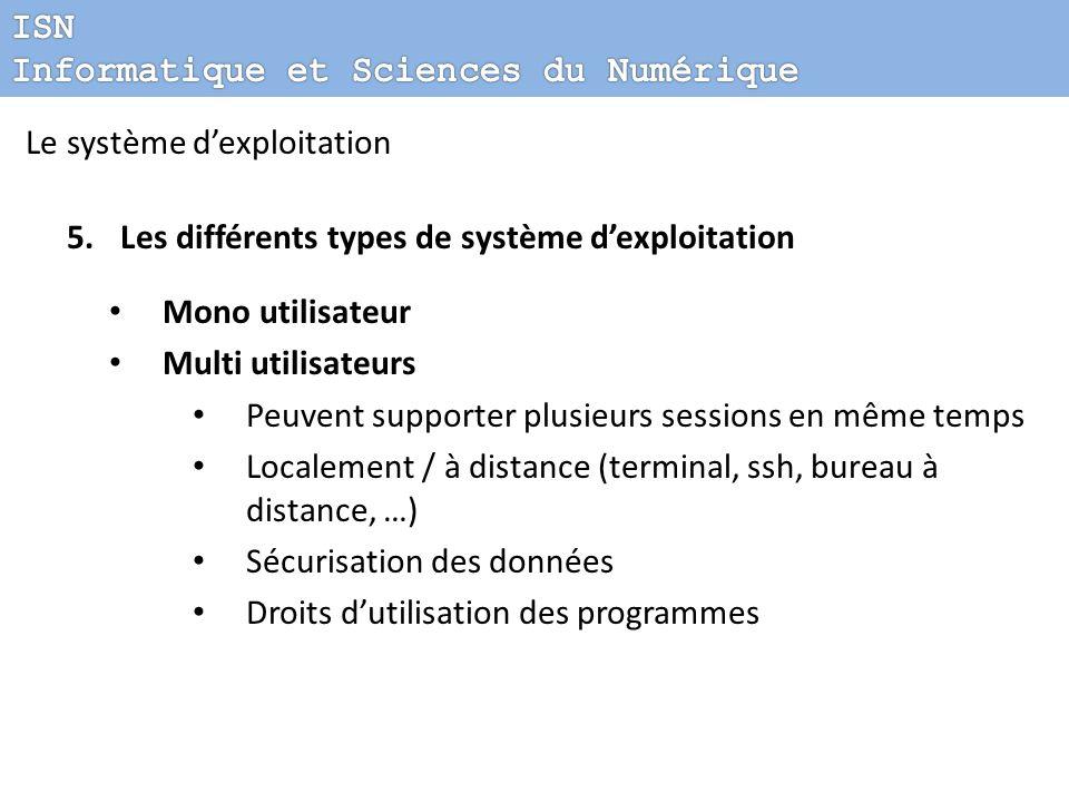 Le système dexploitation 5.Les différents types de système dexploitation Mono utilisateur Multi utilisateurs Peuvent supporter plusieurs sessions en m