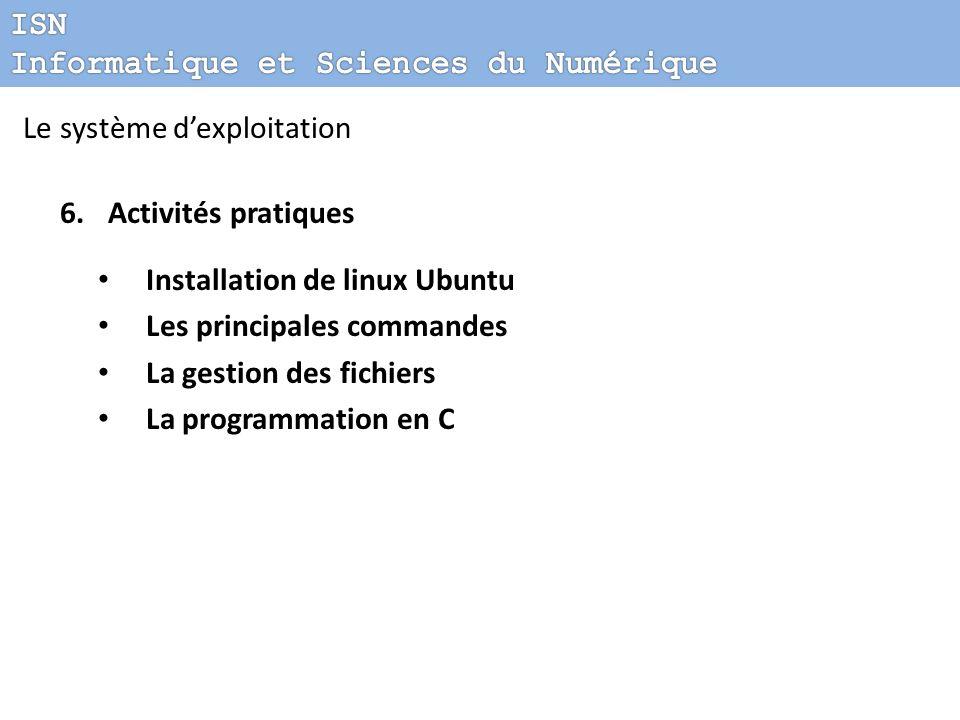 Le système dexploitation 6.Activités pratiques Installation de linux Ubuntu Les principales commandes La gestion des fichiers La programmation en C