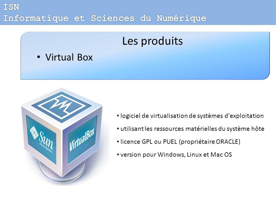 Les produits Virtual Box logiciel de virtualisation de systèmes d'exploitation utilisant les ressources matérielles du système hôte licence GPL ou PUE