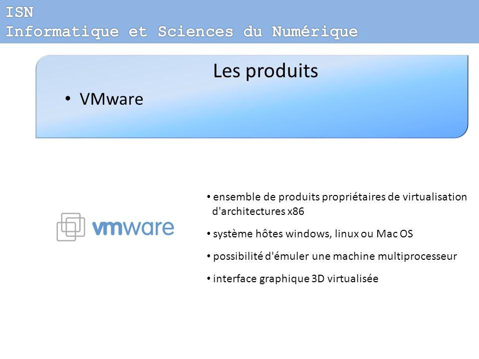 Les produits VMware ensemble de produits propriétaires de virtualisation d'architectures x86 système hôtes windows, linux ou Mac OS possibilité d'émul