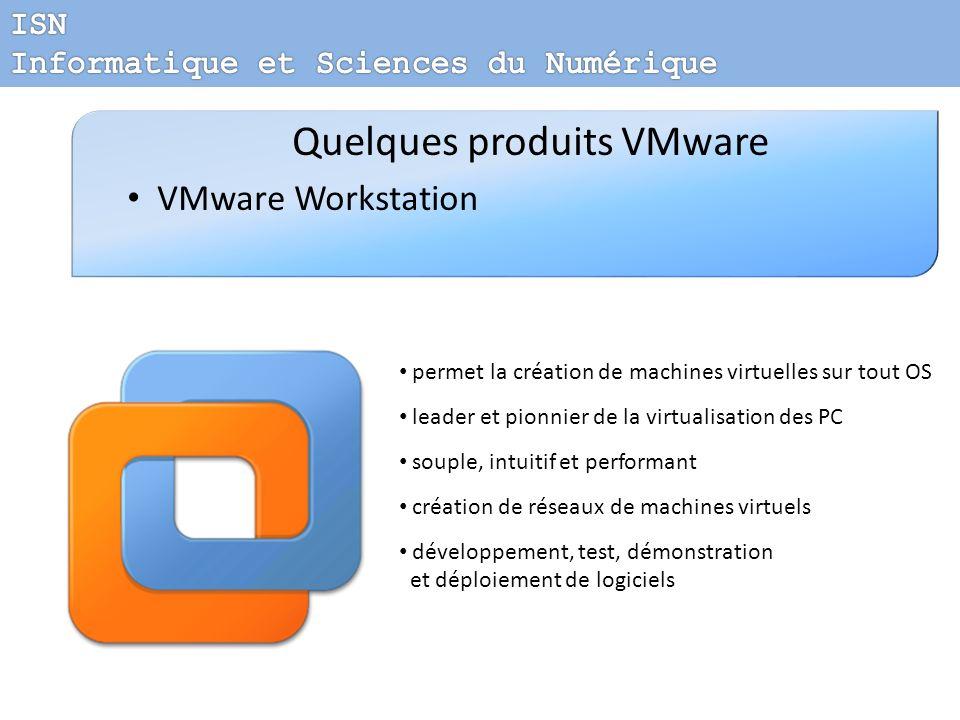 Quelques produits VMware VMware Workstation permet la création de machines virtuelles sur tout OS leader et pionnier de la virtualisation des PC soupl