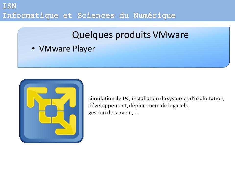 Quelques produits VMware VMware Player simulation de PC, installation de systèmes dexploitation, développement, déploiement de logiciels, gestion de s