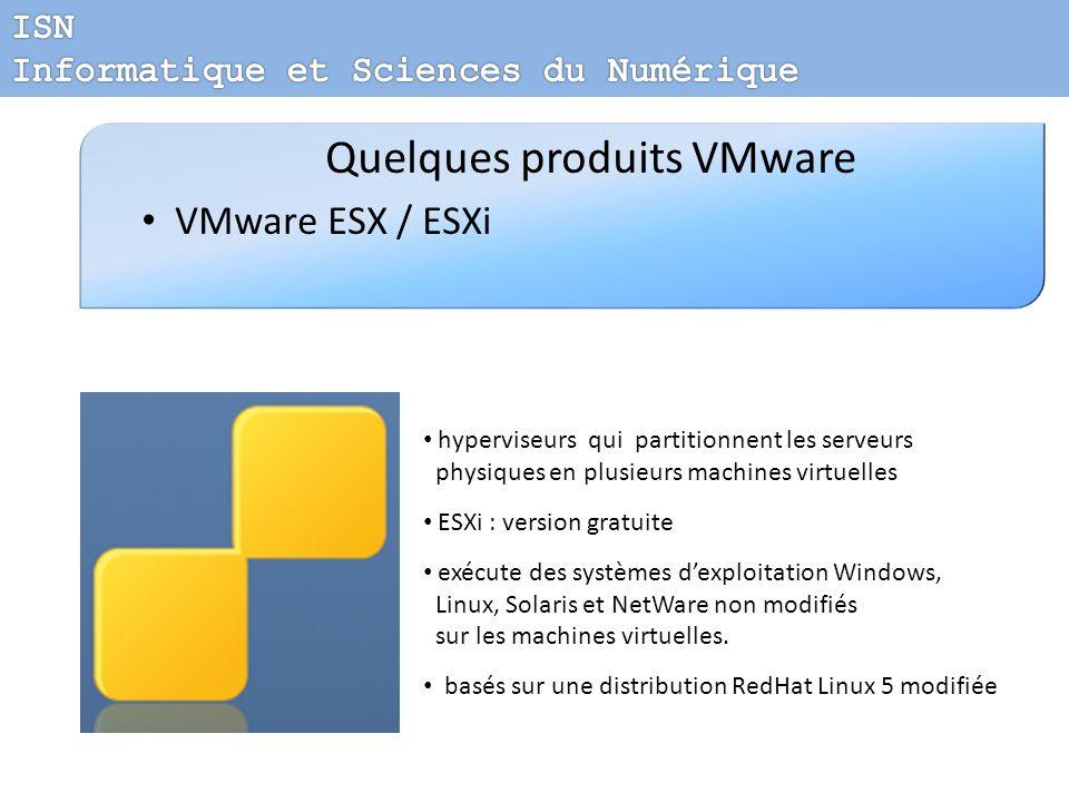 Quelques produits VMware VMware ESX / ESXi hyperviseurs qui partitionnent les serveurs physiques en plusieurs machines virtuelles ESXi : version gratu