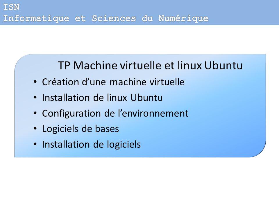 TP Machine virtuelle et linux Ubuntu Création dune machine virtuelle Installation de linux Ubuntu Configuration de lenvironnement Logiciels de bases I