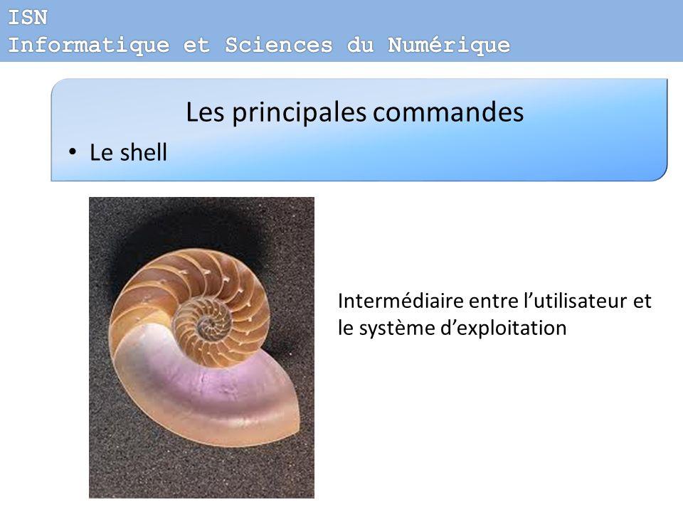 Les principales commandes Le shell Intermédiaire entre lutilisateur et le système dexploitation